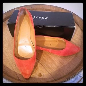 Size 9 (run large) J Crew Coral Suede Flats